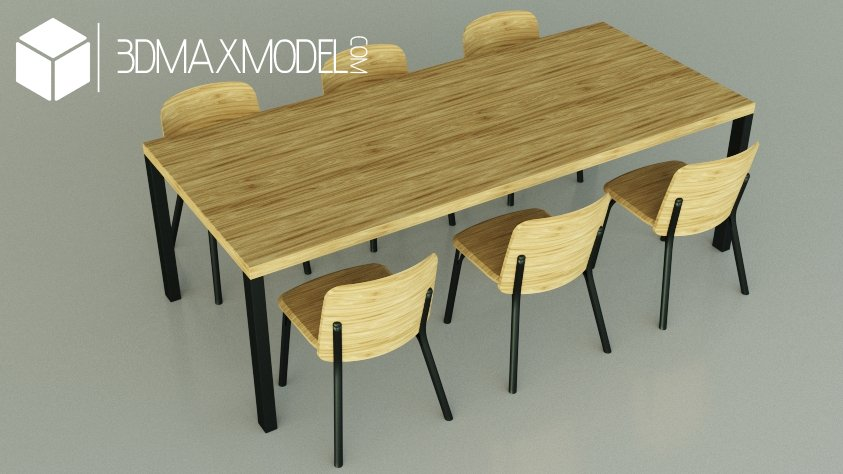 Chairs and table 3d model